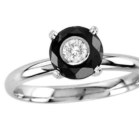 14kt White Gold Round Black and White Diamond Solitaire Ring
