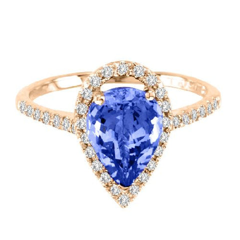 14kt Yellow Gold Pearshape Tanzanite and Diamond Ring 2.14ctw