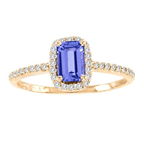 14kt Yellow Gold Emerald Cut Tanzanite and Diamond Ring 1.15ctw