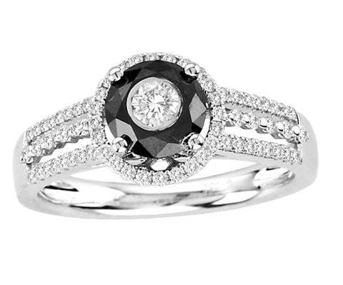 18kt White Gold  Black and White Diamond Ring 1.00ct TW