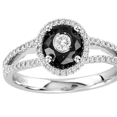 14kt White Gold Black and White Split Shank Diamond  Ring 0.50ct