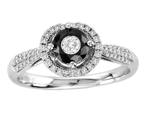 14kt White Gold  Black and White Diamond  Ring 0.50ct TW