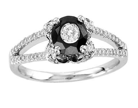 18kt W.G. Black and White Diamond Split Shank Ring 0.75ct TW