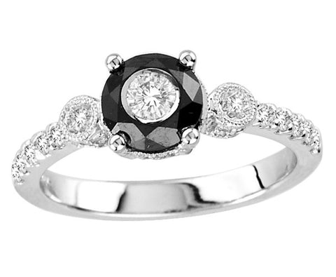 14kt White Gold Round Black and White Diamond Ring 1.00ct TW