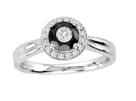 14kt White Gold Round Black and White Diamond Ring 0.77ct TW