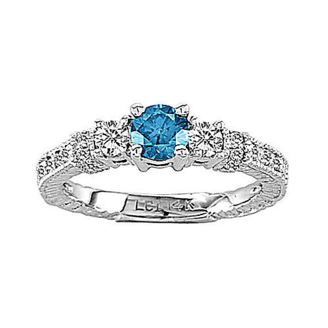 14k Gold Ring with 0.80ct tw. of White and Blue Diamond