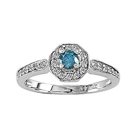 14k Gold Ring with 0.50ct tw. of White and Blue Diamond
