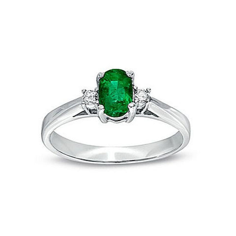 0.45cttw Emerald and Diamond Ring set in 14k Gold