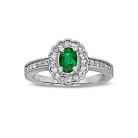 0.63ct tw Emerald and Diamond Fashion Ring set in 14k Gold