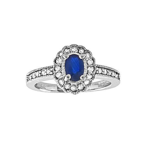 0.80ct tw of Diamond and Sapphire Fashion Ring set in 14k Gold