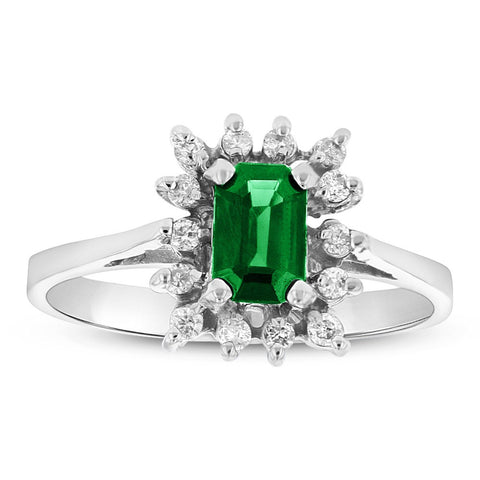 Emerald Cut Emerald and Diamond Ring set in 14k Gold 0.70ct TW
