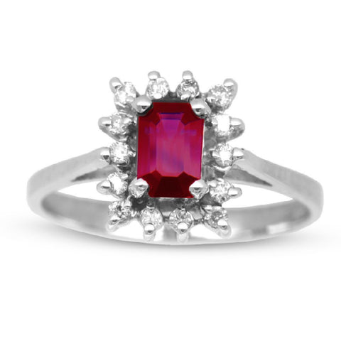 Emerald Cut  Ruby and Diamond Ring set in 14k Gold 0.85ct TW