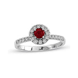0.65cttw Ruby and Diamond Halo Ring set in 14k Gold