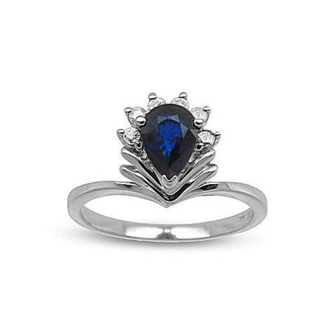 0.85cttw Pear Shaped Sapphire and Diamond set in 14k Gold