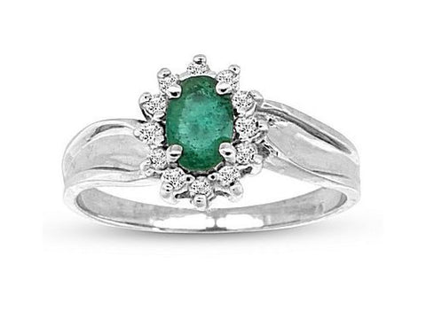 0.55cttw Emerald and Fashion Diamond Ring set in 14k Gold