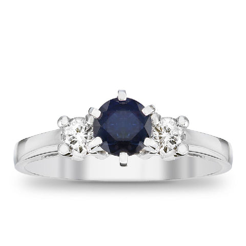0.83cttw Blue Sapphire and Diamond Ring in 14kt Gold
