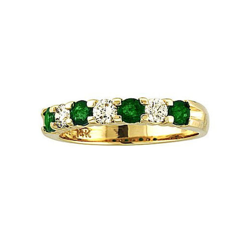 14k Gold Ring 0.78ct tw Round Diamonds and Emeralds