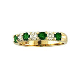 14k Gold Ring 1.00ct tw Round Diamonds and Emeralds