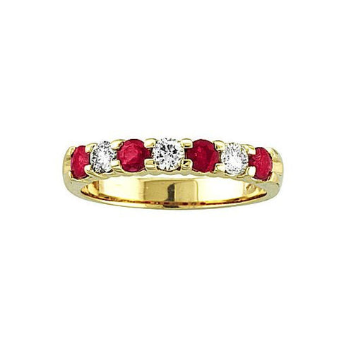 14k Gold Ring 0.27ct tw Round Diamonds and Rubies