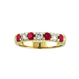 14k Gold Ring 1.00ct tw Round Diamonds and Rubies