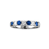 14k Gold Ring 0.78ct tw Round Diamonds and Blue Sapphires