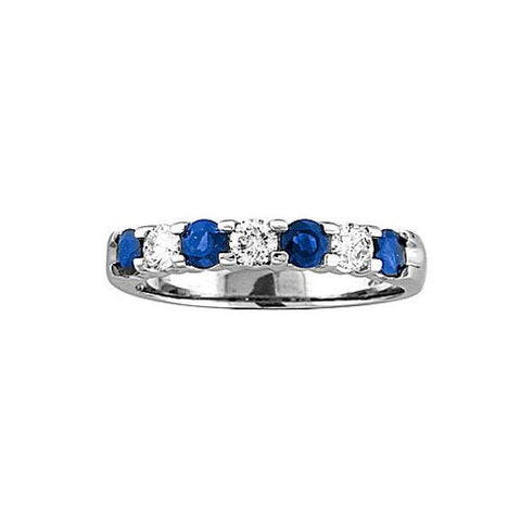 14k Gold Ring 1.00ct tw Round Diamonds and Blue Sapphires