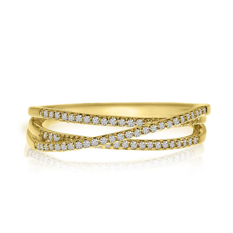 14k Yellow Gold Stackable Overpass Ring