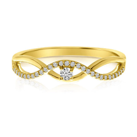 14k Yellow Gold Stackable Wave Diamond Ring
