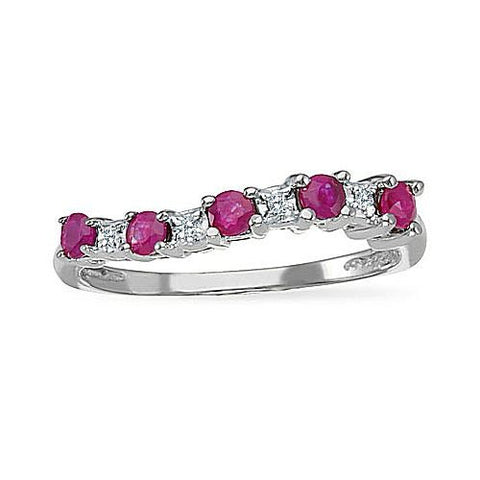 14kt White Gold Ruby and Diamond Curved Band Ring