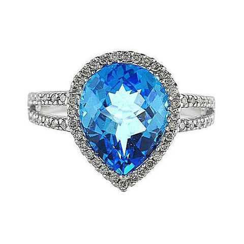 14K White Gold 11X8 mm Pear Blue Topaz and Diamond Ring