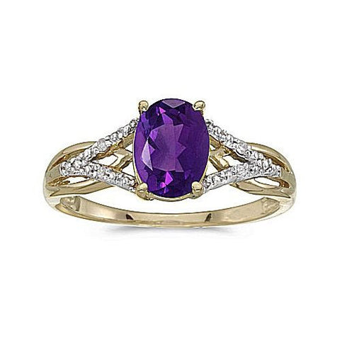 10kt Yellow Gold Oval Amethyst and Diamond Ring