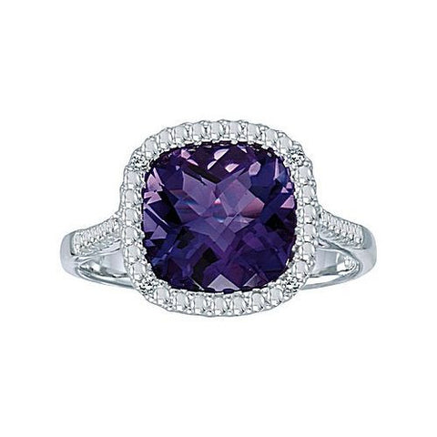 14kt White Gold 7mm Cushion Amethyst and Diamond Ring