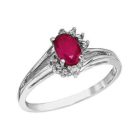 14K White Gold 6x4 Oval Ruby and Diamond Ring