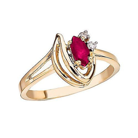 14k Yellow Gold Marquise Ruby and Diamond Ring