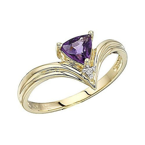 14kt Yellow Gold Trillion Amethyst Ring