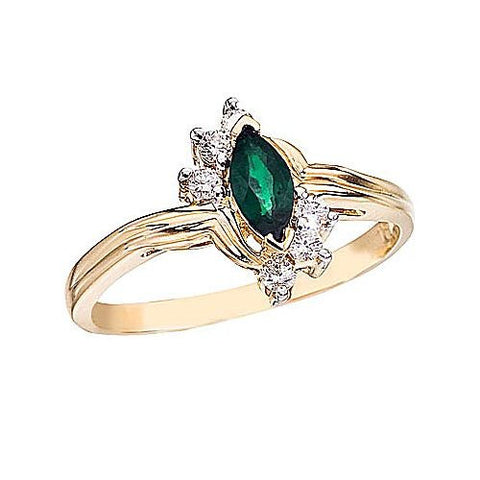 14K Yellow Gold 6x3 Marquise Emerald and Diamond Ring