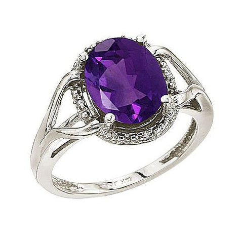 14kt W.G. Oval Checkerboard  Amethyst and Diamond Rope Ring