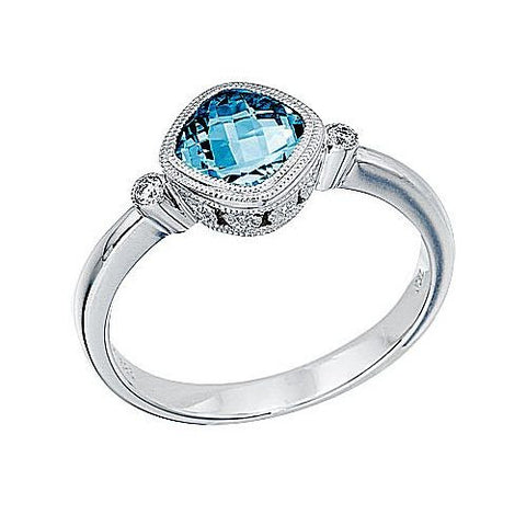 14K White Gold Blue Topaz and Diamond Bezel Ring