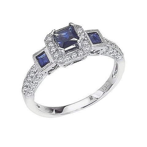 14K White Gold Diamond and Emerald Cut Sapphire Ring