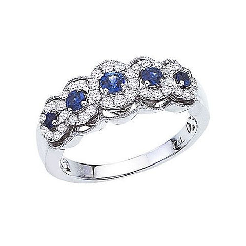 14K White Gold 0.45 Ct Sapphire and Diamond 5 Stone Ring