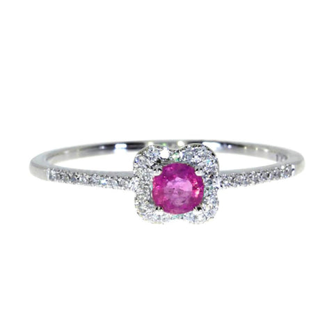 14k White Gold Diamonds 0.11ct and Ruby Ring
