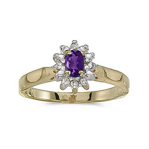 14kt Yellow Gold Diamond and Amethyst Ring 0.33ct TW