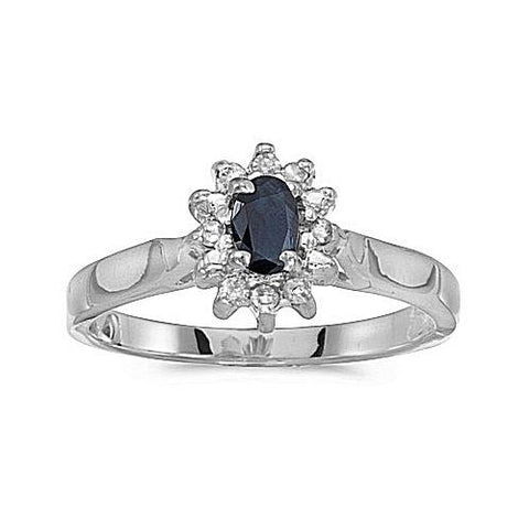 14kt White Gold Diamond and Blue Sapphire Ring 0.42ct TW
