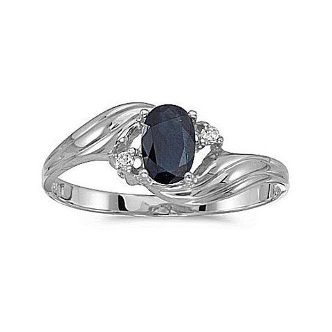 14K White Gold 6x4 Oval Blue Sapphire and Diamond Ring
