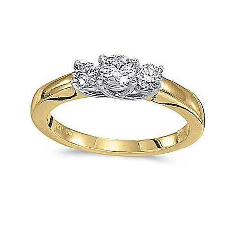14kt Yellow Gold 3 Stone Trellis Setting Diamond Ring 0.50ct TW