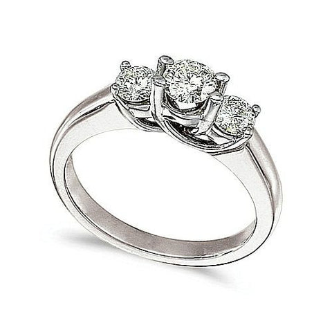 14kt White Gold 3 Stone Trellis Setting Diamond Ring 0.75ct TW