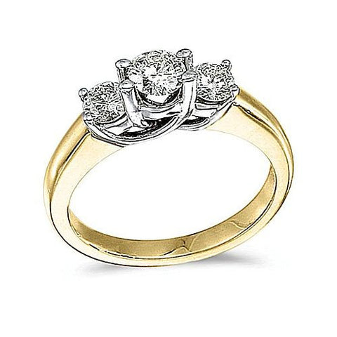 14kt Yellow Gold 3 Stone Trellis Setting Diamond Ring 1.00ct TW