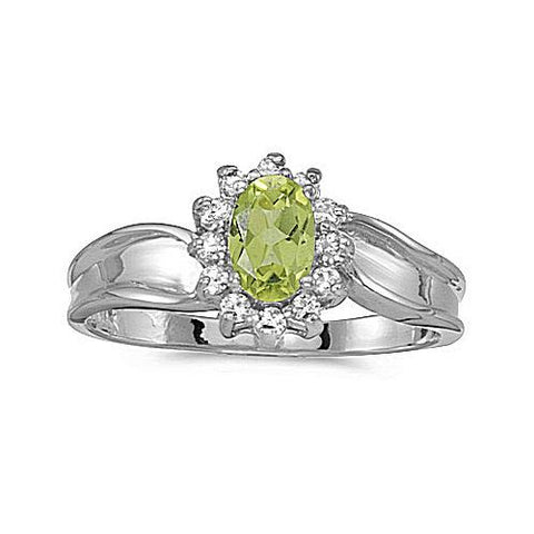 10kt White Gold Oval Peridot and Diamond Ring