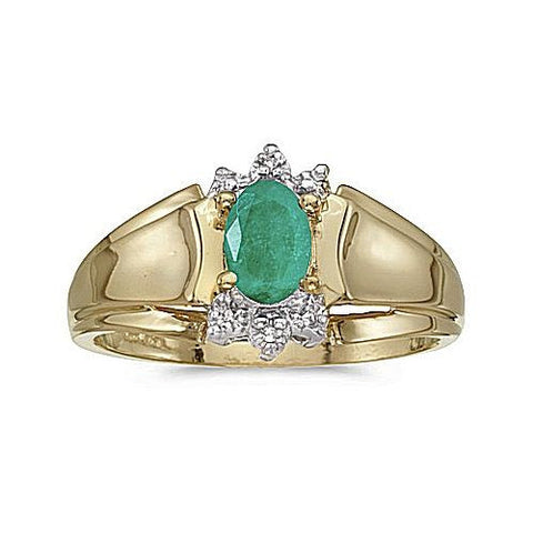 14k Yellow Gold Concave Sides Diamond and Emerald Ring