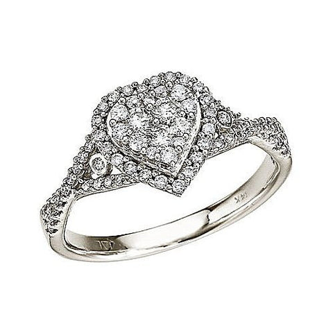 14K White Gold .50 Ct Diamond Heart Ring
